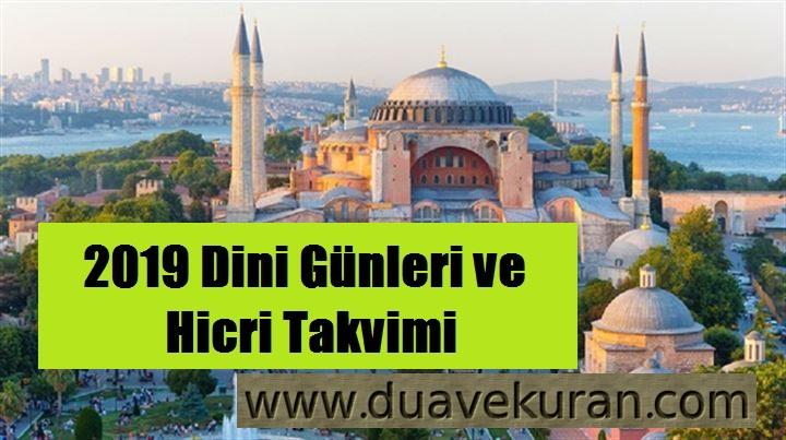 2019 Dini Günleri ve Hicri Takvimi
